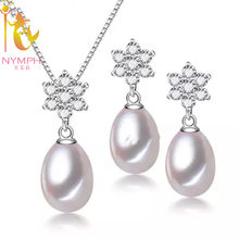 NYMPH Wedding Pearl Jewelry Set 925 Sliver Jewelry 8-9mm Real Freshwater Pearl Necklace Pendant Earrings Women Snow [tz1020](China)