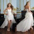 2017 Nova Frete Grátis! Preço barato! mulheres Beading Querida Dianteiro Curto Voltar Longo Branco Vestidos de Casamento
