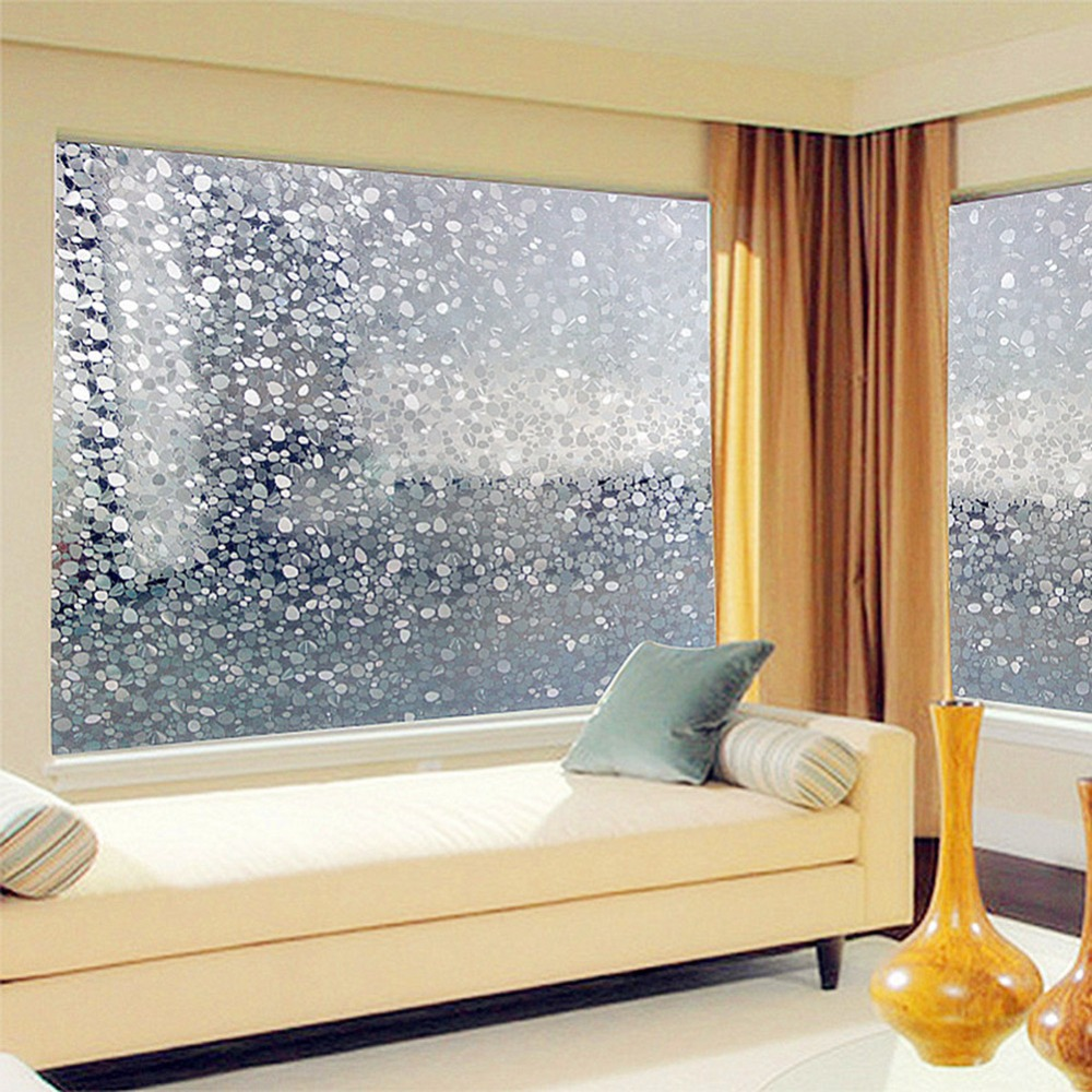 3DPVC Colorful Pebbles Scrub Home Bedroom Bathroom Privacy Glass Window  Film Window Stickers Decals 45X100cm Window