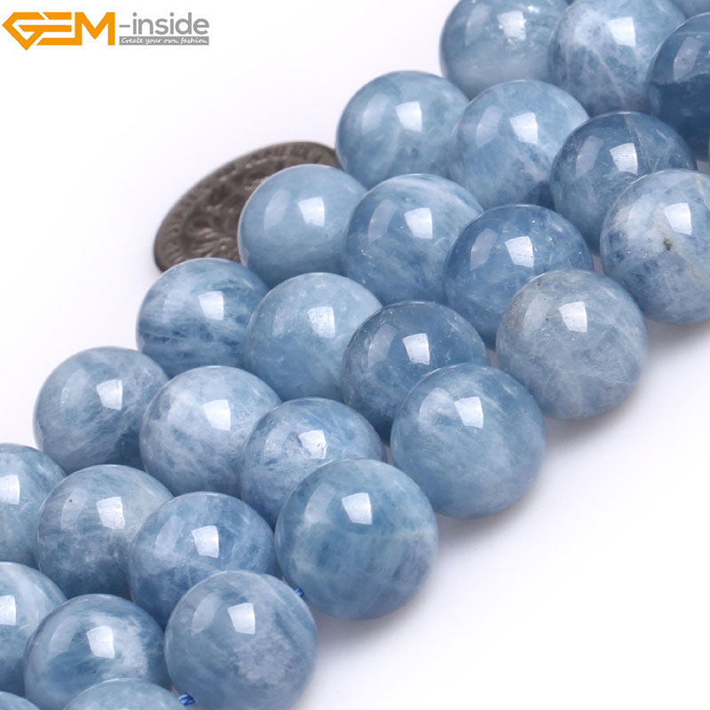 Gem-inside 6-12mm AA Grade Natural Stone Beads Round Blue Aquamarines Beads For Jewelry Making Beads 15'' DIY Beads Jewelery