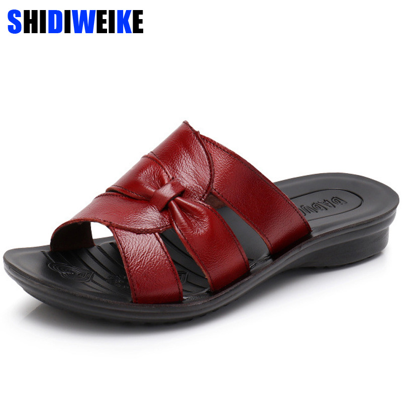 Women Slippers Shoes Genuine Leather Casual Slides Women Summer Shoes Retro Solid Mother Shoes Wedges Flip Flops n829Women Slippers Shoes Genuine Leather Casual Slides Women Summer Shoes Retro Solid Mother Shoes Wedges Flip Flops n829