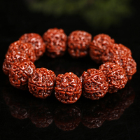 Natural Five Petals Nepal Bodhi Beaded Bracelet Fashion Ethnic Women Men Bracelets Jewelry (bead size 20mm) Handmade Bangle