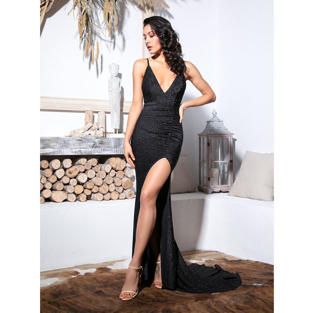 Love&Lemonade Sexy Black Deep V-Neck Cut Out Bodycon Shiny Elastic Fabric Maxi Dress LM81709-1 6