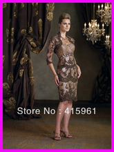 Gorgeous Beaded Lace Long Sleeves Knee Length Mother of Bride Gowns With Jacket M561
