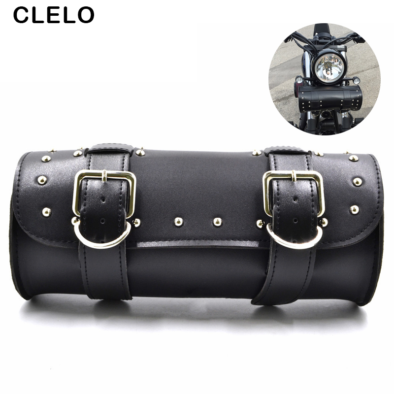 CLELO Motorcycle Saddle Bags Black Brown PU Leather Roll Barrel Moto Luggagge Bag Tool Tail Bag For Harley Cruiser