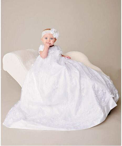 2016 Noble Vestidos Baby Girl Christening Dress Todder Baptism Gown Lace Applique Robe White/Ivory 0-24month 2016 baby infant baptism gown baby girl christening dress white ivory lace applique robe 0 24month