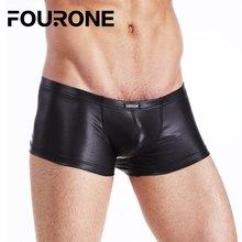 Solid Mens Underwears Faux Leather Boxer Underpants Shorts Panties M-XXL High quality