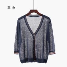 Shuchan New Summer Womens Cardigan With 3/4 Sleeve V-neck Office Lady Computer Knitted Cardigans Feminino Tops