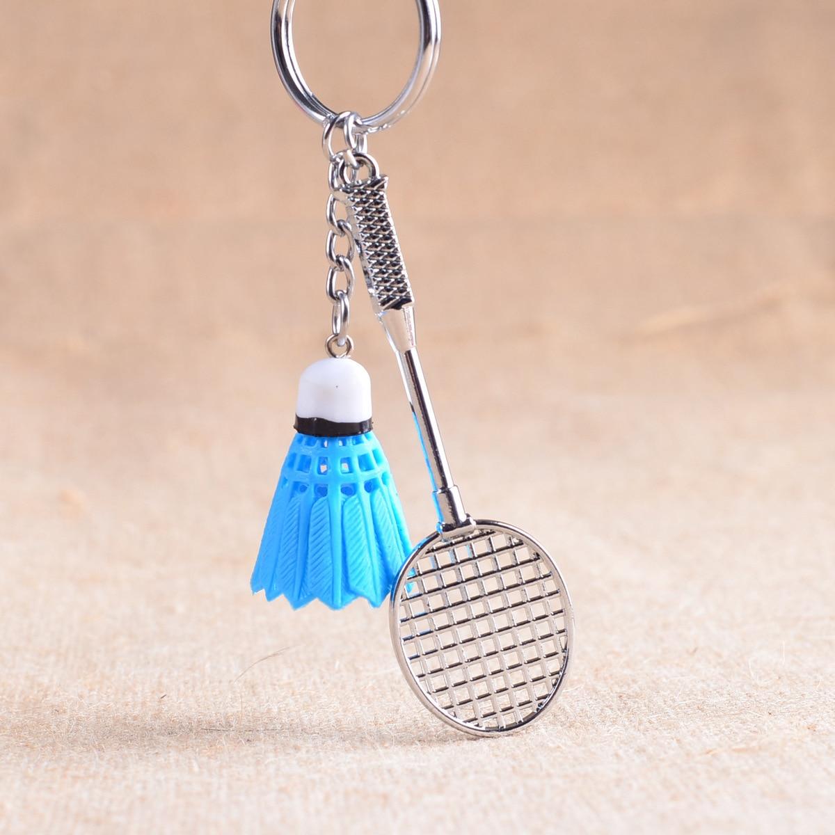 1 pc ZARSIA Mini Metal Badminton Racket Key Ring Souvenir Cute Badminton Racquet shuttlecock Key-chain Sports Chain Gift