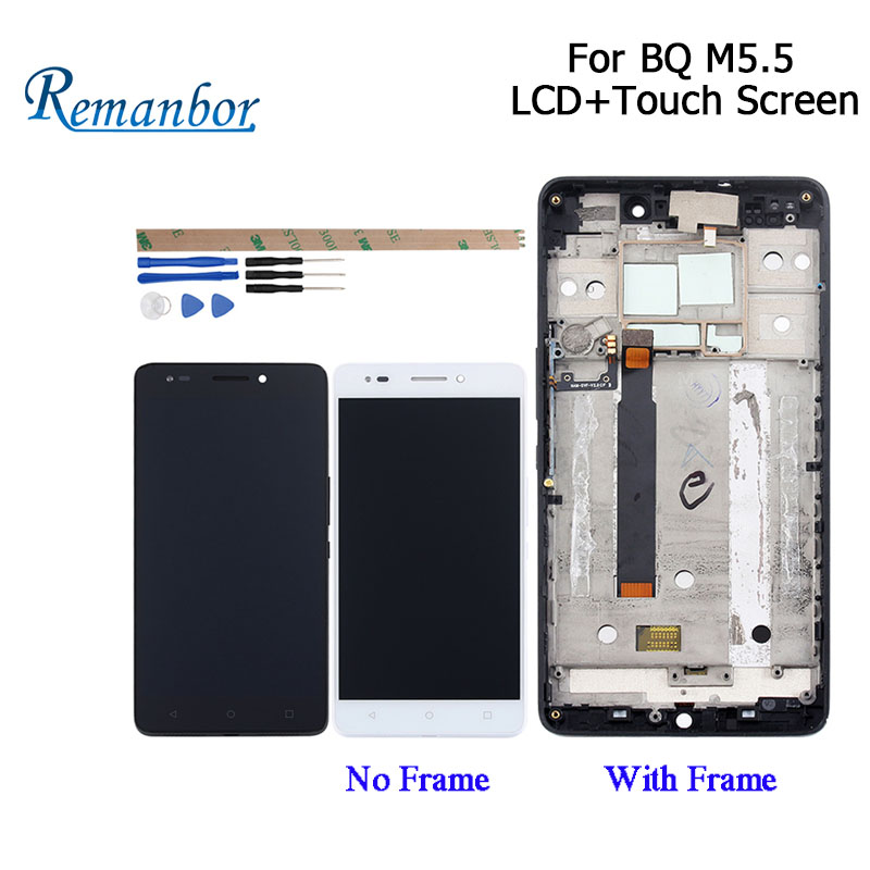 Remanbor For BQ Aquaris M5.5 LCD Display and Touch Screen +Frame 5.5 Inch Assembly Mobile Phone Accessories With Tools+Adhesive
