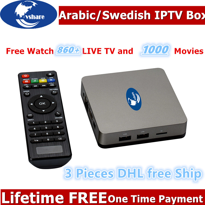 3 stücke DHL freies verschiffen Lebensdauer Gebühr Arabisch/Schwedisch IPTV box