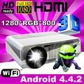 ATCO Top Calidad 5500 Lúmenes Proyector de Cine En Casa Android 4.4 LED Wifi RJ45 1080 P HD LCD película Proyectores beamer Freeshipping