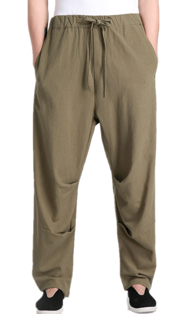 Free shipping Chinese traditional national pants kung fu pants hakama Men's pants tai chi pants for men kungfu trousers