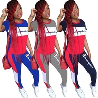 Hot trend women tracksuit o neck sexy letter print women set summer short sleeve ladies tracksuit YY5090