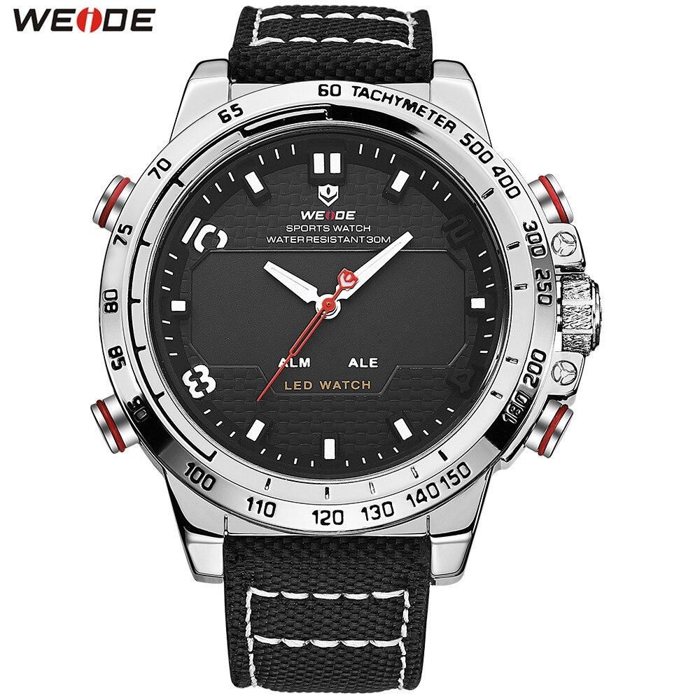 Original Brand WEIDE Man Fashion Outdoor Sport Watch Men LED Digital Quartz Watch Nylon Band Waterproof Army Wristwatch Relogios nuckily ns357 men s outdoor sport nylon spandex shorts army green size l