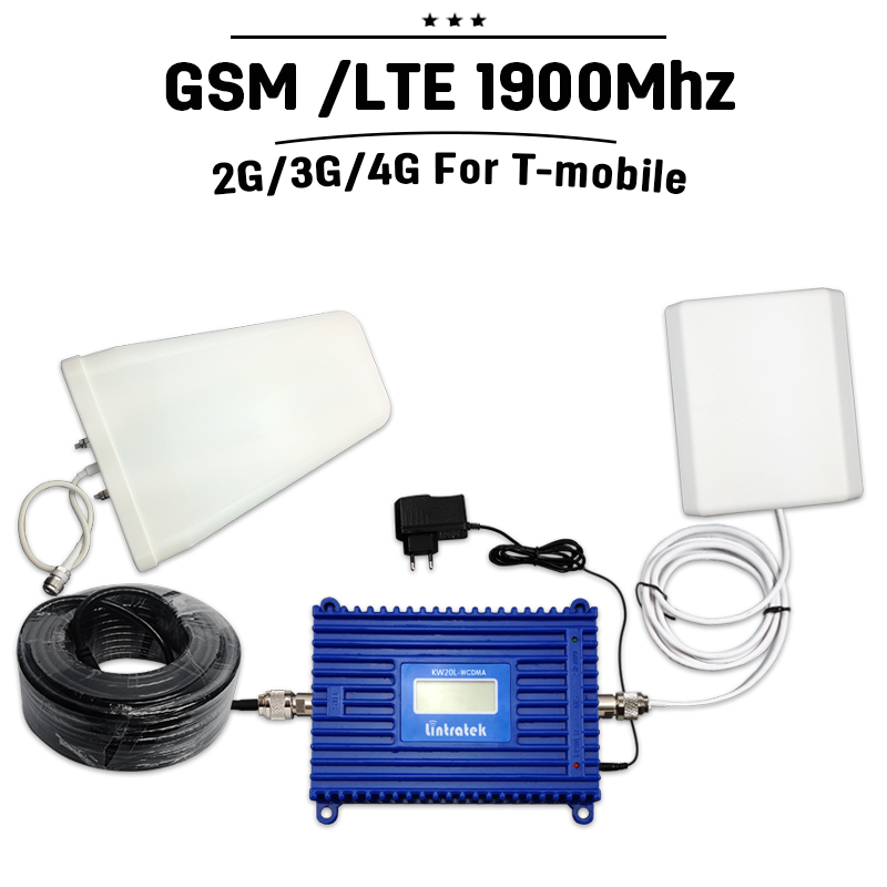 Full Set Lintratek GSM PCS 1900 mhz 70dB Gain Cell Phone Repeater Mobile Cellular Signal Booster 20dBm Power ALC Amplifier Home