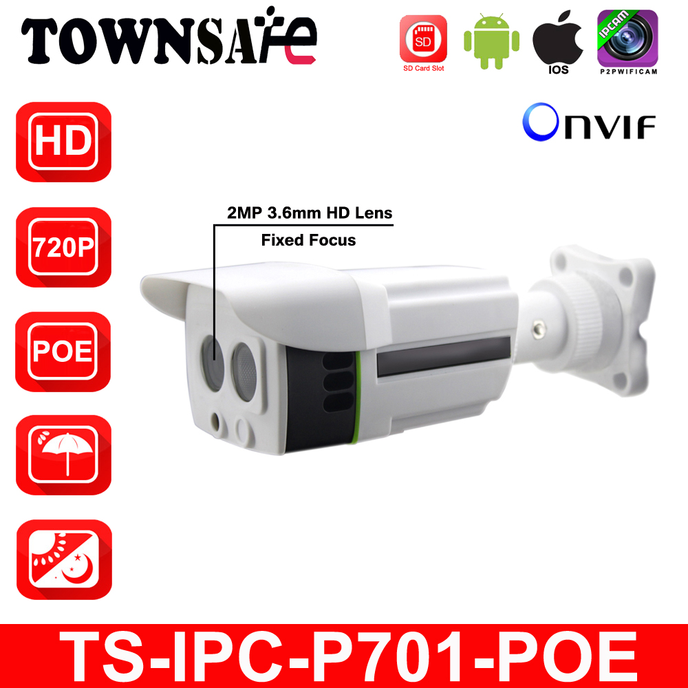 TOWNSAFE new TS-IPC-P701-POE ONVIF HD 720P 1.0MP Bullet IP Camera Outdoor Waterproof IP66 Security IR with SD Card Slot POE P2P outdoor waterproof white metal case 1080p bullet poe ip camera with ir led for day