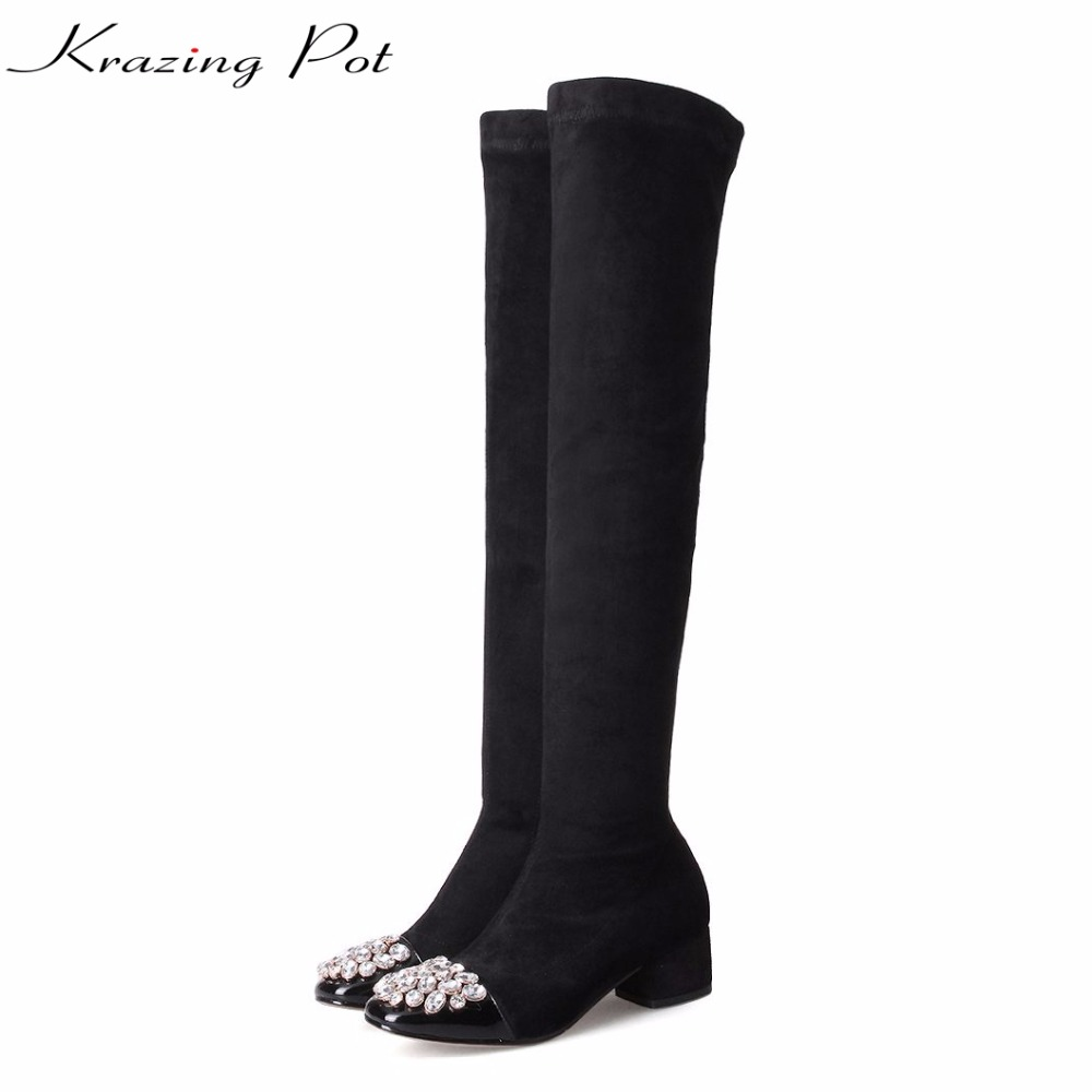 Krazing pot cow leather plus size crystal stretch knee boots thick heels square toe party superstar winter thigh high boots L93 krazing pot genuine leather sheep skin thick high heels square toe zipper boots women superstar party western mid calf boots l17