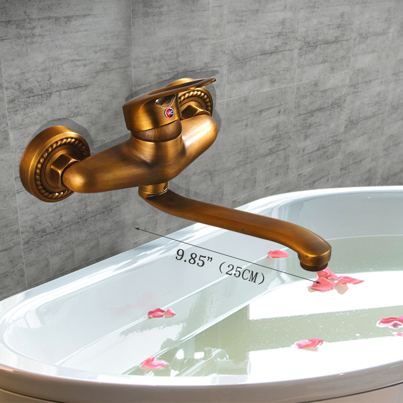 Luxury Antique Brass Single Handle Bathroom Sink Faucet Bathtub Mixer Faucet Brass Wall Mounted Extended Spout Hot& Cold Water gappo 1set bathroom faucet accessories faucet brass body bathtub sink mixer cold hot water faucet in hand showerg2211