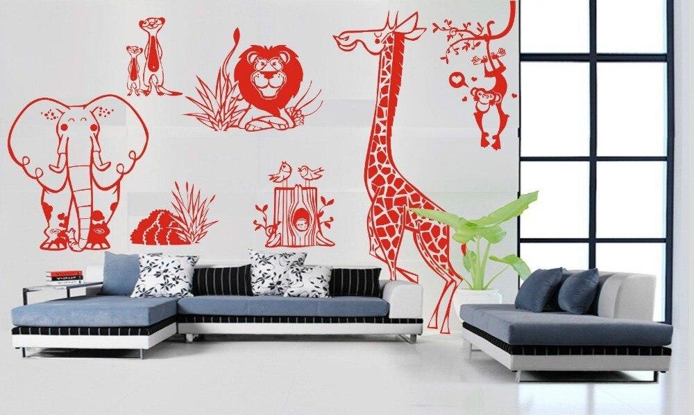 Jungle Animal Zoo vivant Stickers muraux enfants maison décalcomanie amovible mur Art vinyle décor bricolage livraison gratuite