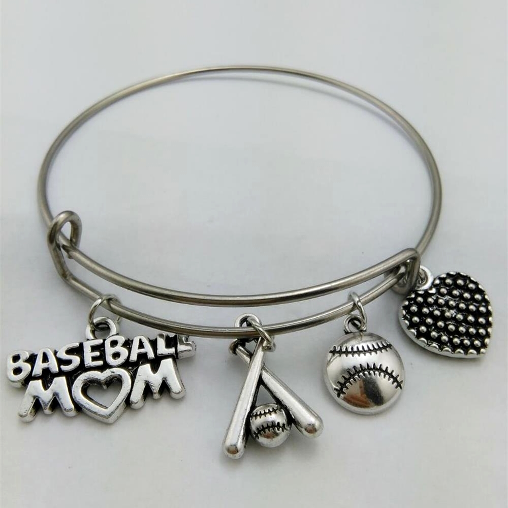 My Shape Sporty Style Gift Baseball Mom Charm Bracelet Stainless Steel  Expandable Wire Bangle With Baseball