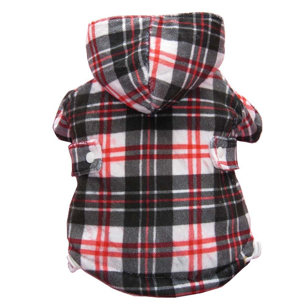 Англия Стиль проверки печати собака пальто с капюшоном флис внутри животных Зимняя одежда XS-XL КРАСНЫЙ распродажа ...
