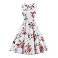 2017 Lato kobiet Rocznika Retro Sukienka Foral Drukuj Swing Rockabilly Casual Party Dress Vestidos 7 Wzory