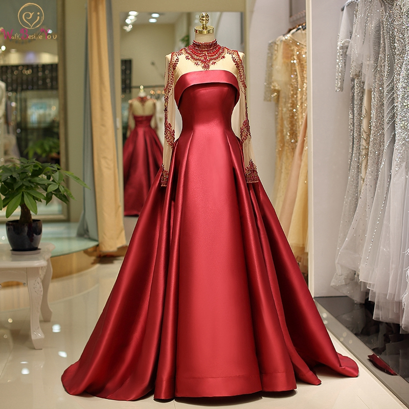 Red Evening Dress 2019 New Arrival A-line Full Length Sleeves Satin With Tulle Beading High Neck Elegant Reflective Formal Gown