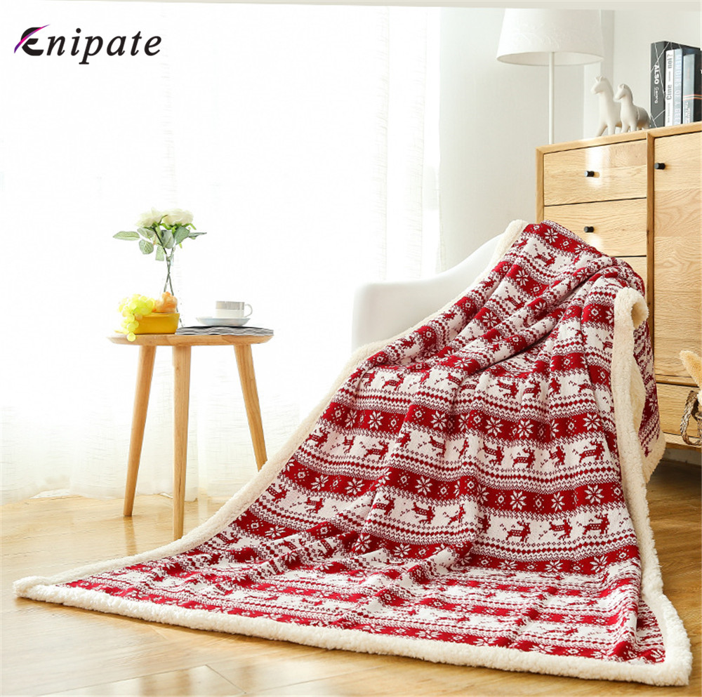 Enipate Large Warm Thick Owl Christmas Elk Throw Blanket Coverlet Reversible Fuzzy Plaid on The Sof