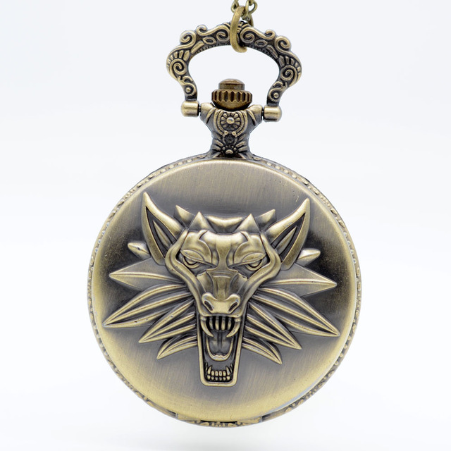 The Game WITCHER Cosplay Quartz Pocket Watch Black Dial Analog Pendant Necklace