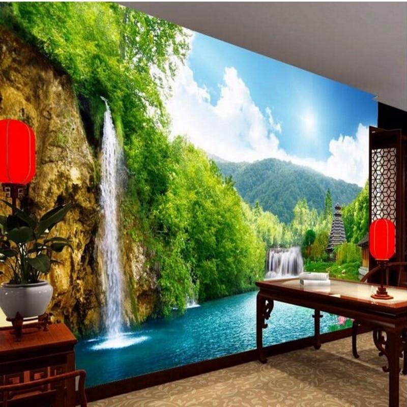 3d Wallpaper House Malaysia Beibehang Custom Wallpaper 3d Nonwoven Wall Waterfall