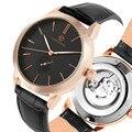 Модные автоматические механические часы из стали  мужские роскошные классические часы с кожаным ремешком и циферблатом