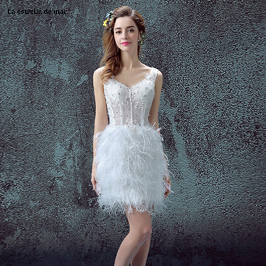 Sukienka Koktajlowa2018 New Lace Crystal Corset See White Feather Cocktail Party Dress Short Formal Dresses Cheap Abendkleider