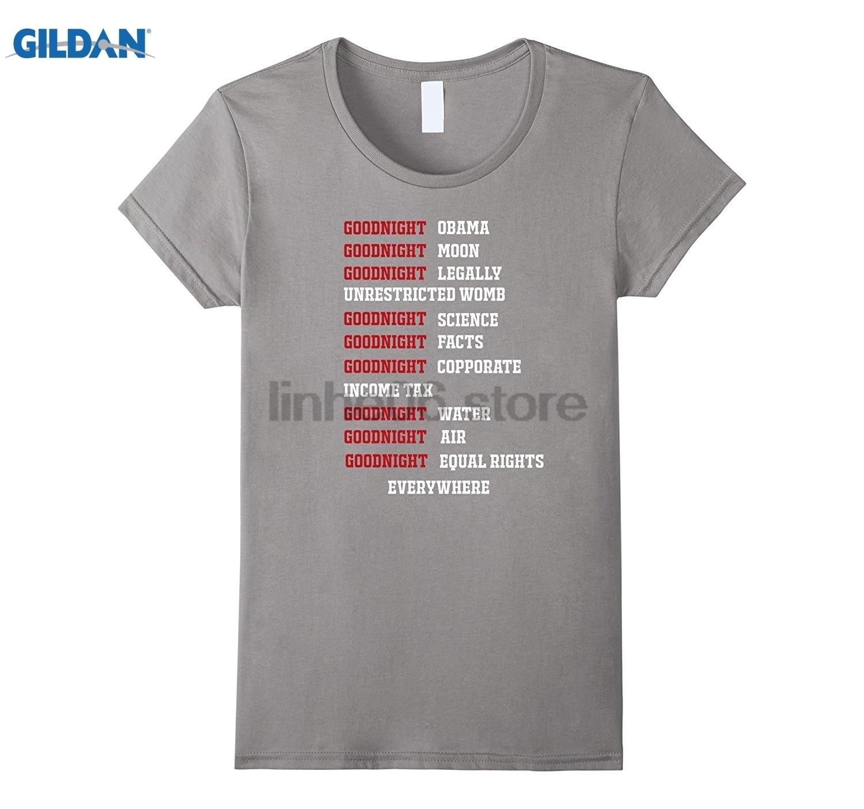 GILDAN Goodnight Obama Goodnight Moon T-shirt Round Neck Short-Sleeve T-Shirt Top Fashion T-Shirt Top summer dress T-shirt