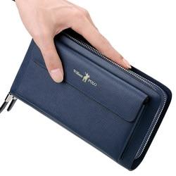 Echt Leer Dubbele Rits handtas mode mannen PORTEMONNEE business grote capaciteit card bag