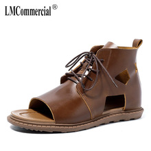 Roman shoes non-slip mens sandals High Quality Genuine Leather gladiator summer all-match cowhide beach outdoor