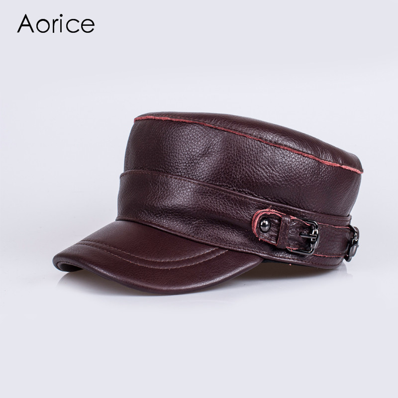 Aorice Genuine Leather Cotton Cap Men Baseball Cap Hat CBD High Quality Men Real Leather Adult Hats Solid Adjustable Caps HL108 which in shower adjustable women knitted winter baseball cap warm snapback real raccoon hat solid color real fur pompom bones