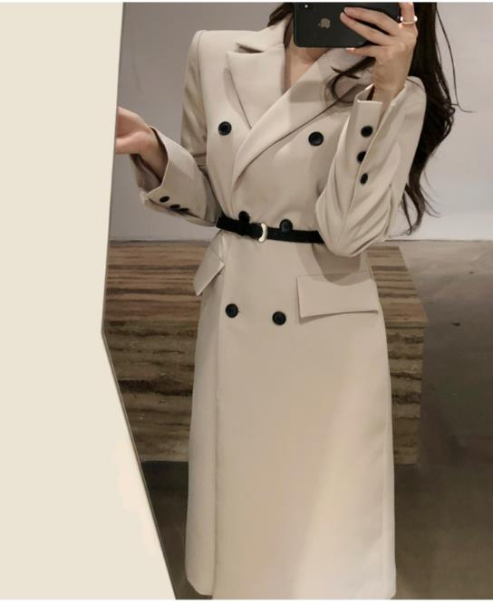 spring autumn fashion Slim windbreaker women double breasted long   trench   coat plus size 2XL