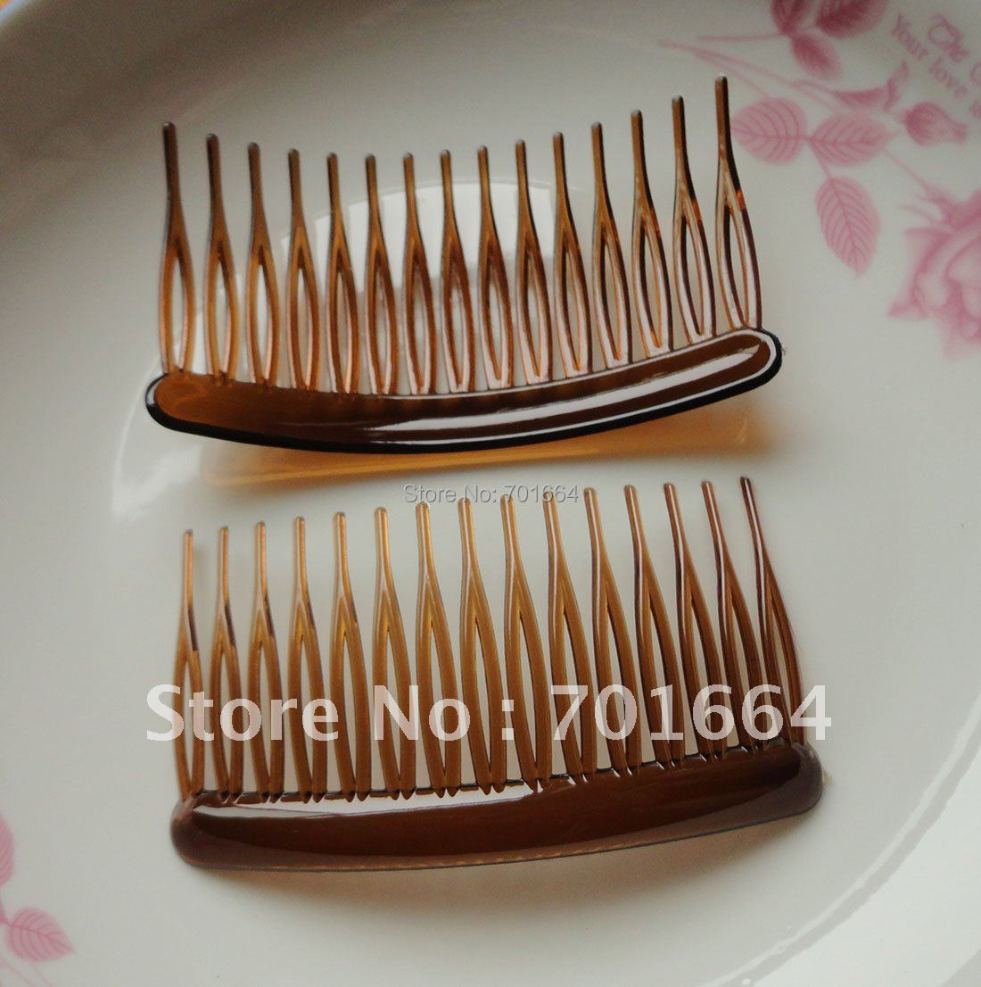 20PCS 15teeth medium size 4.5cm*8.0cm clear dark brown plain plastic side comb Handmade wedding brial hair jewelry accessories
