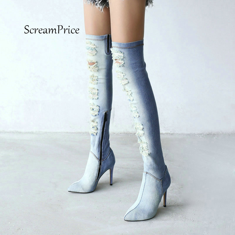 2018 New Fashion Holes Denim With Zip Sexy Thin High Heel Over The Knee Boots Women's With Pointed Toe Autumn Thigh Boots Blue jialuowei women sexy fashion shoes lace up knee high thin high heel platform thigh high boots pointed stiletto zip leather boots