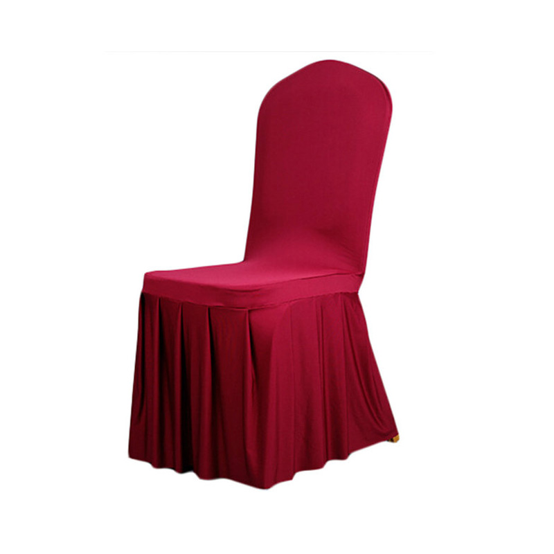 Burgundy Chair Cover Polyester Spandex Dining Chair Covers