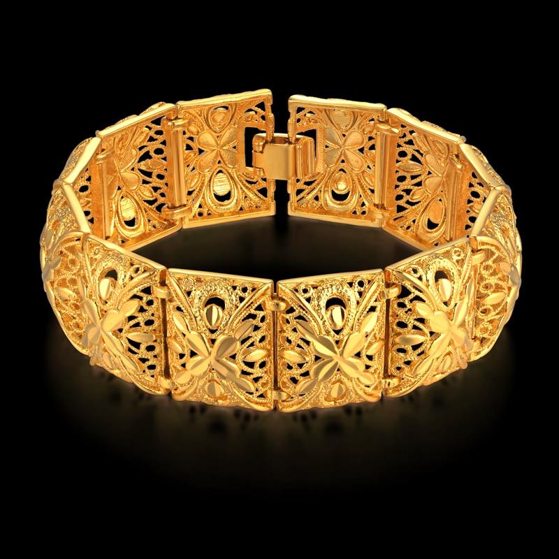 "Women's Bracelet Gold Color Chunky Bracelets Wholesale Braslet Hollow Chains Link Bracelet For Women Wide Jewelry Female Gift 8"""