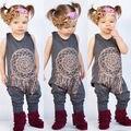 Осень-весна одежда набор Младенческая Baby Девушки Дети One Piece Боди Ползунки Комбинезон Экипировка Одежда цветочные девушки ползунки
