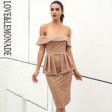 Love Lemonade Off the Shoulder Waist Ruffled Plaid Glue Bead Material Dress bd2cf1e96a7c