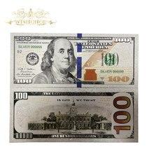 10 шт./лот, новые товары, цветные американские банкноты, 100 долларов, золотые банкноты, 24k посеребренные, как банкноты, подарки