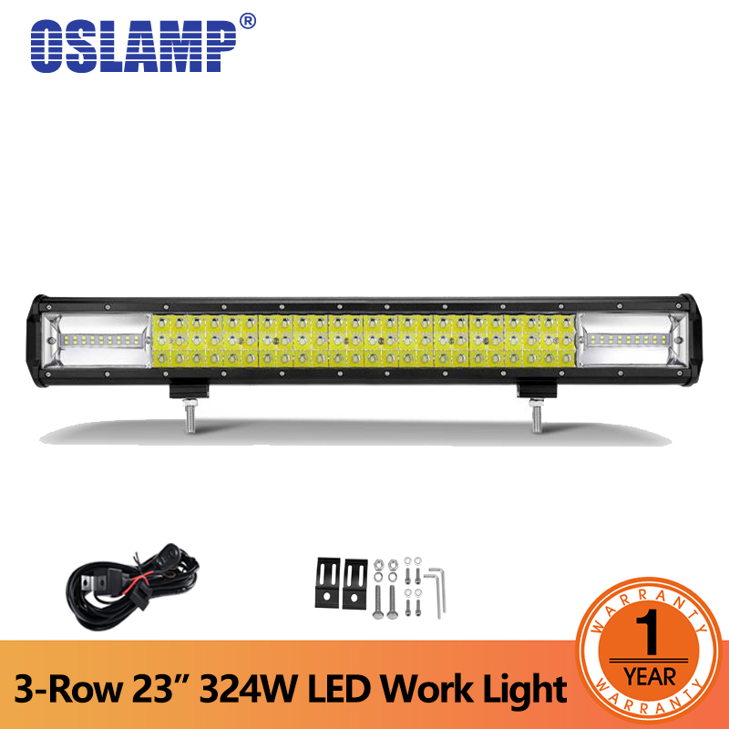 Oslamp 3-row 23inch 324W LED Work Light Bar Offroad Driving Lamp Combo Beam DC 12V 24V for Auto Truck SUV ATV 4x4 4WD oslamp 2pcs 4 36w 3 row flood spot beam led work light offroad led driving lamp 12v 24v for truck suv atv 4x4 4wd led car light