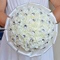 Красивый Искусственный Белый Кот Синий Красная Роза Свадебный Букет Кристалл Невесты Невесты Ручной Свадебные Цветы Свадебные Букеты
