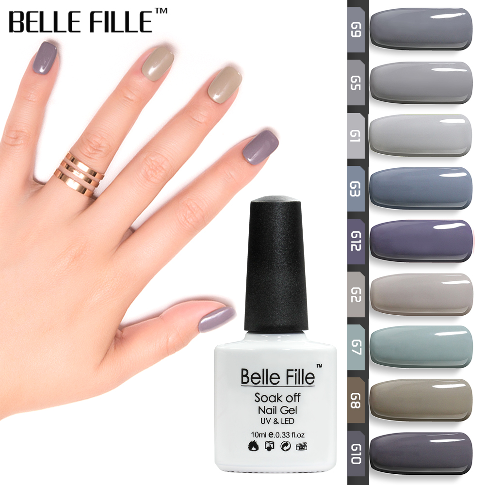 BELLE FILLE Dark Grey Series Colors UV Gel Nail Polish 10ml Soak Off ...