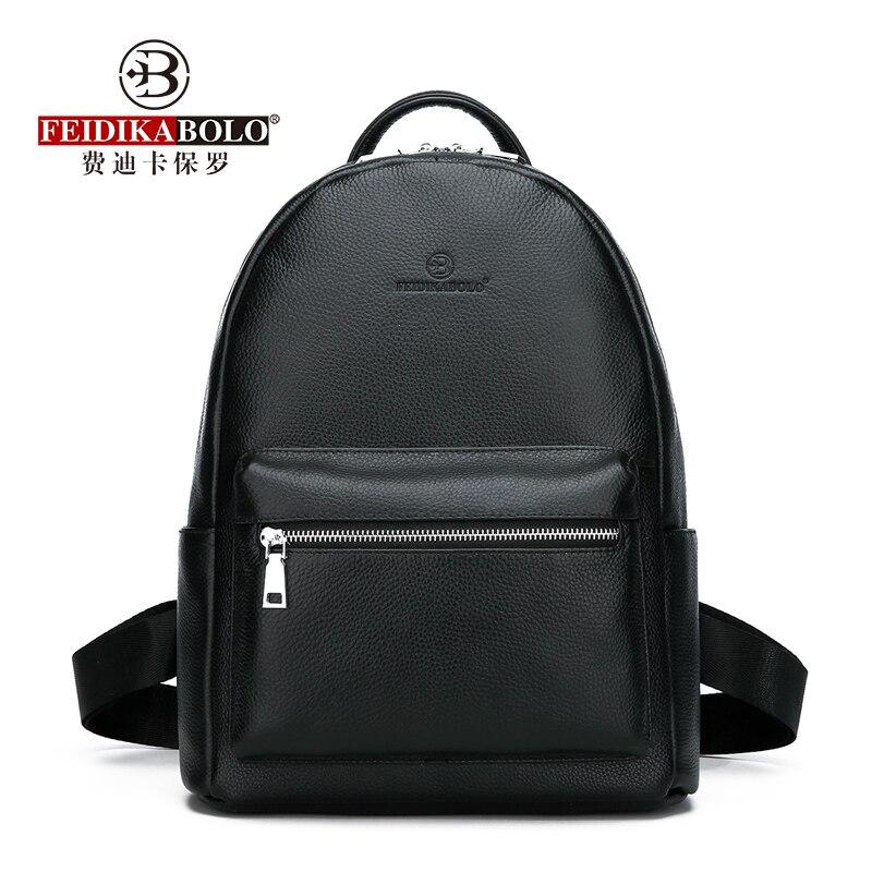 Mochila De Cuero genuino para hombre, mochila de cuero de vaca de moda, mochila de colegio para hombre, mochila de viaje negra de gran capacidad a la moda-in Mochilas from Maletas y bolsas    1