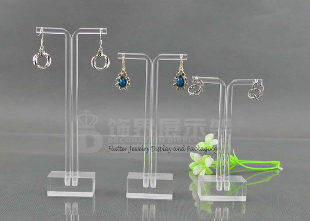 3sets Lot Acrylic Clear Earring Display Stand Hanging Rack Jewelry Showcase Stud Holder